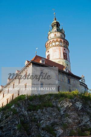 View of castle with tower, Cesky Krumlov Castle, Cesky Krumlov, Czech Republic.