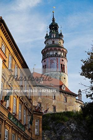 Close-up of tower of the Cesky Krumlov Castle, Cesky Krumlov, Czech Replublic.