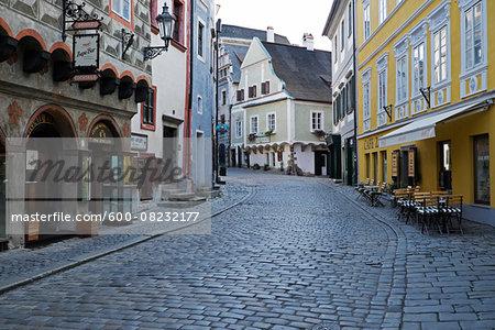 Cobblestone city street and historical buildings, Cesky Krumlov, Czech Replublic.