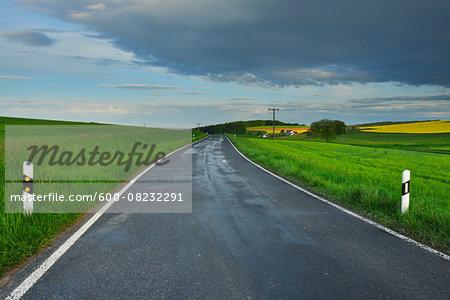 Rural Road in Spring, Reichartshausen, Amorbach, Odenwald, Bavaria, Germany