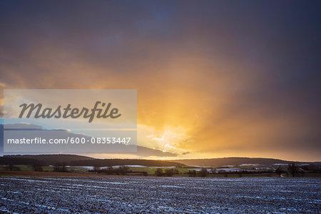 Field Landscape at Sunrise in the Winter, Dietersdorf, Coburg, Bavaria, Germany
