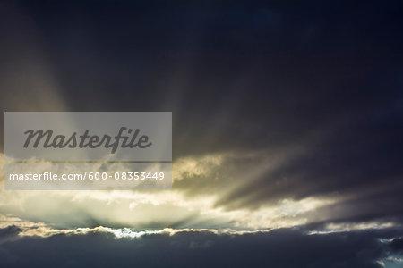 Cloudy Sky at Sunrise, Dietersdorf, Coburg, Bavaria, Germany