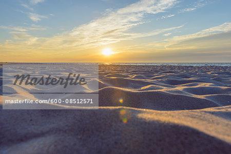 Sandy Beach at Sunrise, Bunken, Aalbaek Bay, Baltic Sea, North Jutland, Denmark