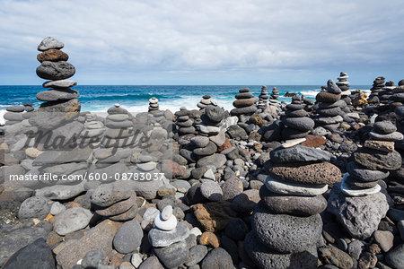Stone Towers on Beach at Puerto de la Cruz, Tenerife, Canary Islands, Spain