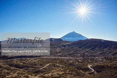 Pico del Teide Mountain with Volcanic Landscape and Road, Parque Nacional del Teide, Tenerife, Canary Islands, Spain
