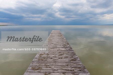 Wooden Jetty at Weiden am See, Lake Neusiedl, Burgenland, Austria