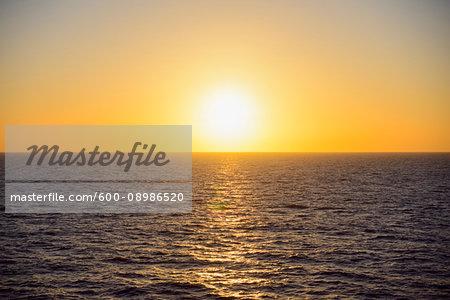 Yellow sunrise over the North Sea, Netherlands