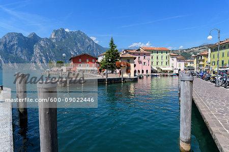 Lakeside view of the resort town of Torbole on Lake Garda (Lago di Garda) in Trentino, Italy