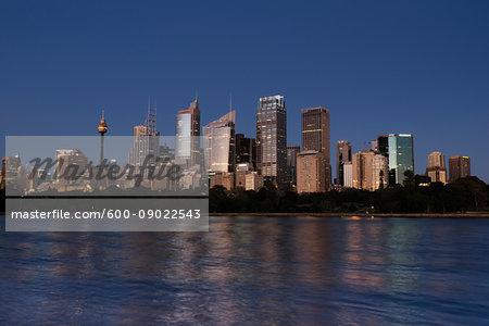 Sydney Harbour and the skyline of Sydney at dusk, Australia