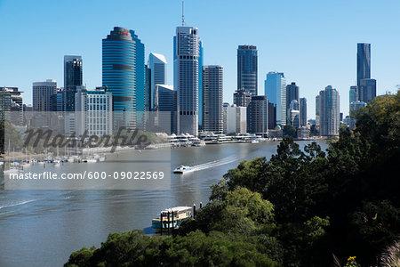 Skyline of Brisbane and the Brisbane River in Queensland, Australia