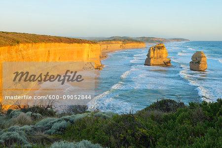 Limestone Stacks of the Twelve Apostles along the coastal shoreline at Princetown, Great Ocean Road in Victoria, Australia