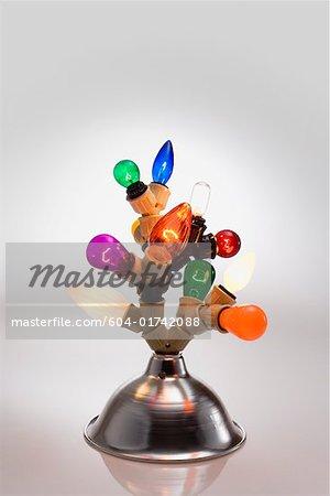Colored lightbulbs in lamp