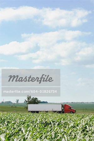 Semi-truck and farmland