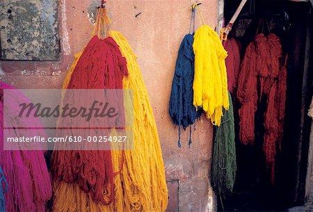 Morocco, Marrakech, dyers' market