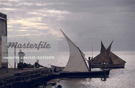 Mauritius Island, fishermen at dusk