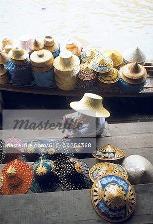 Thailand, Bangkok, wicker baskets