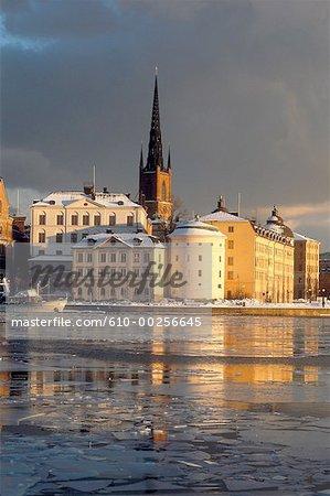 Sweden, Stockholm, Sunsetting on Gamla Stan and Riddar Holmen