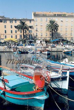 France, Corsica, Ajaccio, boats near harbour