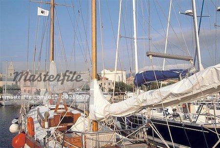 France, Corsica, Saint Florent, sailboats in harbour
