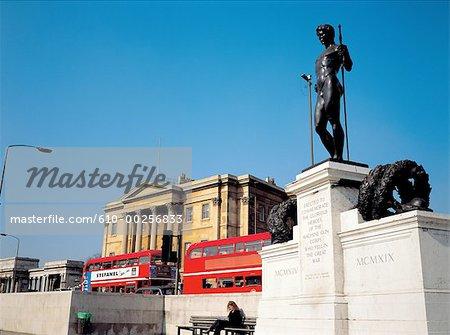 England, London, Trafalgar square, memorial and The National Gallery