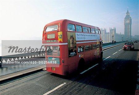 England, London, Double-decker bus on  Westminster Bridge