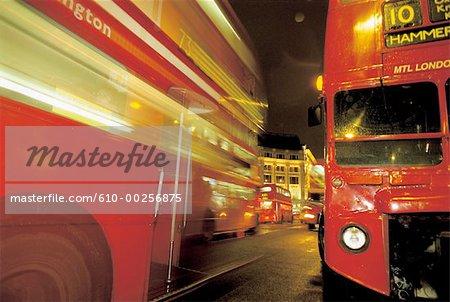 England, London, Bus at night