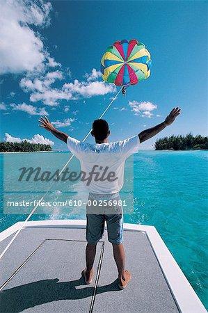 French Polynesia, Moorea island, parasailing