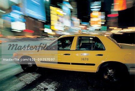 United States, New York, Manhattan, blurred cab at night