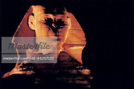 Cairo, Giza, the Sphinx at night