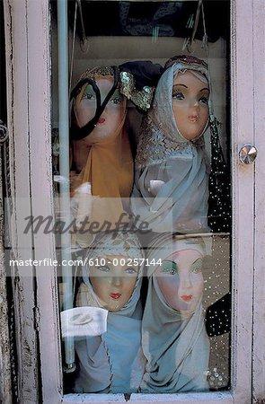 Cairo, Khan el Khalili, selling women's veils