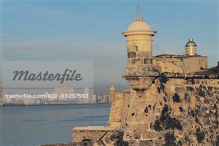 Cuba, Havana, skyline of the new city from El Moro
