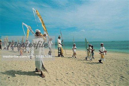 Indonesia, Bali, Odalan procession on Nusa Dua beach