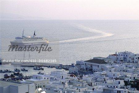 Greece, Cyclades, Mykonos, ferry boat