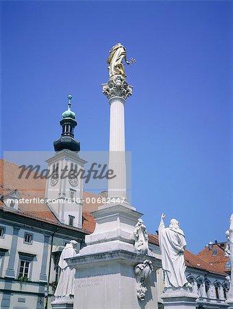 Slovenia, Maribor, baroque monument by the city hall