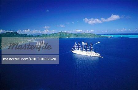 French Polynesia, Society Islands, Bora Bora island, sailing boats, aerial