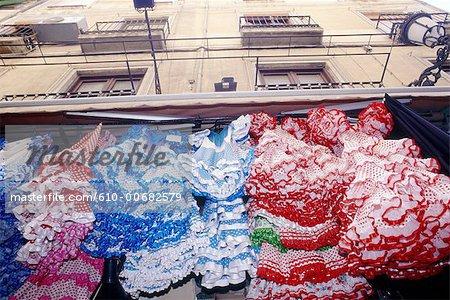 Spain, Andalusia, Granada, flamenco dresses.