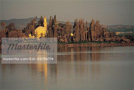 Cyprus, Larnaca, salt lake and Tekke Hala Sultan mosque.