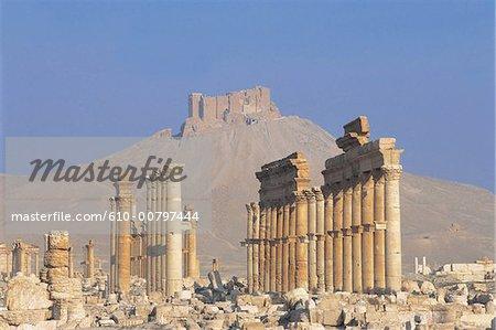Syria, Palmyra, colonnade and krak des chevaliers