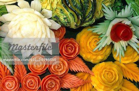 Thailand, Bangkok, sculpted vegetables
