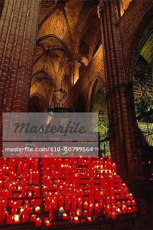 Spain, Barcelona, votive candles in the Sagrada Familia