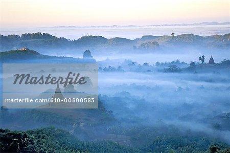 Myanmar, Rakhine state, Mrauk U, hills at dusk