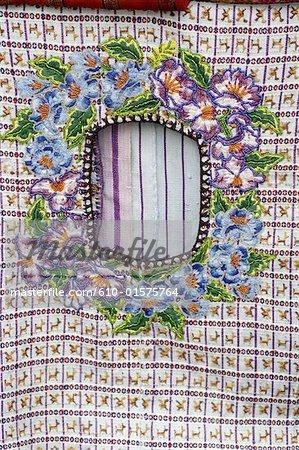 "Guatemala, Santiago Atitlan, market, details of ""huipil"", traditional shirt"