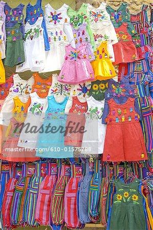 Guatemala, Chichicastenango, Indian market, multicoloured dresses