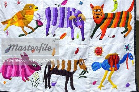 Guatemala, Chichicastenango, Indian market, embroidered fabric