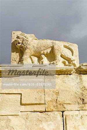 """Jordan, Iraq al amir, Qasr al-Abd """"castle of the slave"""", sculpted lion"""