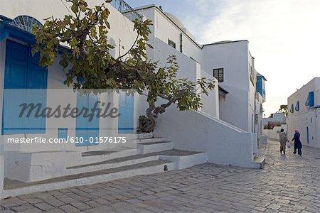 Tunisia, Sidi Bou Said, street at dusk
