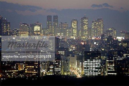 Japan, Tokyo, Ginza and Shinjuku quarters by night