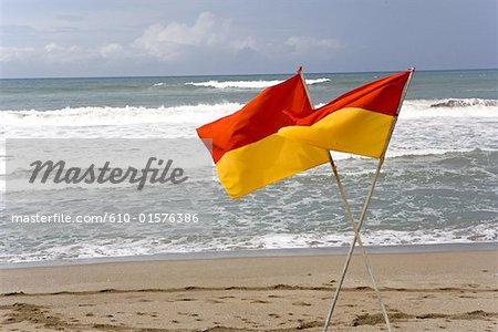 Indonesia, Bali, Seminyak, flags on the beach