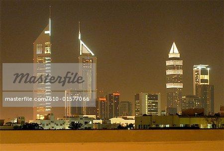 United Arab Emirates, Dubai, towers by night