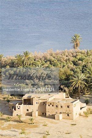 Egypt, Libyan desert, Siwa Oasis, hotel along the Salted Lake